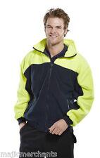 GIALLO Blu Navy in Pile Caldo Lavoro piccola Zip Giacca Cappotto con cappuccio riflettente invernale da uomo