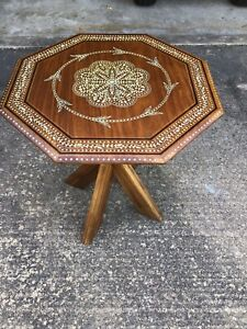 """1960's Anglo Indian Teak Carved Inlay Side End Table 24"""" Refurbished"""