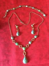 Liz Claiborne Jewelry Set Necklace Lavaliere Pendant Bracelet Pierced Earrings