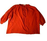 Women's Red MADEWELL Sz Large 100% Cotton Blouse. Beautiful Detail.