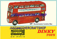 Dinky Toys Routemaster London Bus 289 Large A3 Size Poster Leaflet Shop Sign