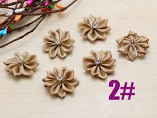 10pcs New Crafts Satin Ribbon flowers Crystal Appliques Diy K2 camel