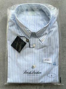 Brooks Brothers Milano Blue & White Strip Shirt Size L No 299