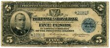 Genuine 1921 Philippines 5 Pesos Circulating Note Star Replacement Note
