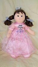 Prestige Little Princess Baby Doll Pink Dress Brown Yarn Hair & Eyes Bows