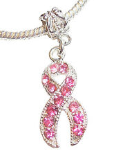 Breast Cancer Awareness Pink Rhinestone Ribbon Dangle Bead for Charm Bracelets