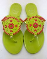 Jack Rogers Women's Lime / Bright Pink Georgica Jelly Thong Flip Flop Sandal - 6