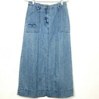 J Jill Out of the Blue Sz 4 Long Maxi Denim Jean Skirt Straight Modest Pockets