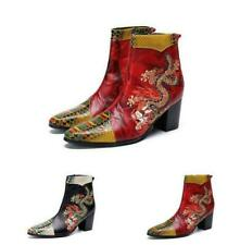 Men Leather Casual Stage Pointy Toe Embroidered Clubwear Ankle Boot Runway Shoes