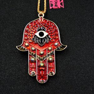 New Rhinestone Red Evil Eye Pendant Betsey Johnson Chain Necklace