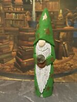 Hand Carved Wooden Wizard with crystal ball