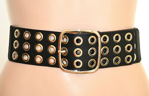 CINTURA NERA ARGENTO donna stringivita ecopelle cinturone anelli bustino G56