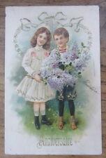 Cartolina d'epoca in rilievo Bambini  Anniversario - postcard - tarjeta -