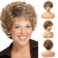 Stylish Women Vogue Short Wigs Brown Blonde Full Curly Wavy Wigs Daily Party Wig