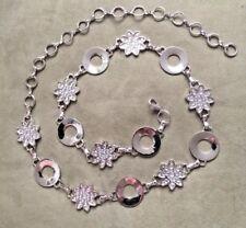 Italien Starburst & Anneaux en métal argenté ceinture avec extension de chaîne