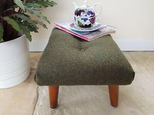 Olive green footstool, Abraham Moon wool foot stool, handmade green foot rest
