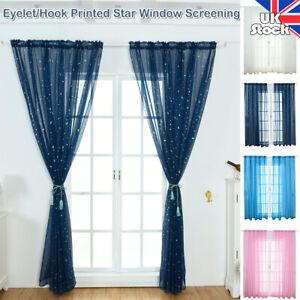 Star Printed Voile Curtain Living Room Bedroom Drap Sheer Window Screening Tulle