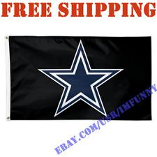 Deluxe Dallas Cowboys Logo Banner Flag BLACK 3x5 ft NFL 2019 Fan Home Decor