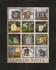 GO IN STYLE by Lori Deiter 16x20 FRAMED PICTURE Outhouse Collage Bathroom Decor
