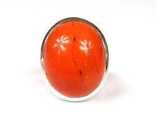 opulenter, silberner Ring - mit großer Koralle besetzt - 925er Sterling Silber