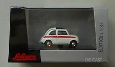 FIAT 500 SPORT WHITE w RED SCHUCO 1:87 HO SCALE DIE-CAST CAR