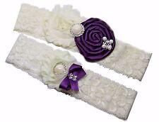 Purple Eggplant Wedding Garter Set w/ Pearl Rhinestone Bow Lace Vintage Prom
