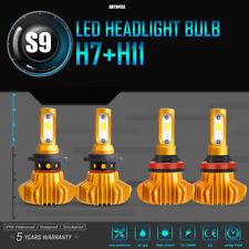 S9 Combo H11 H7 LED Headlight Bulbs Hi-Lo Beam Fog Total 3000W 450000LM 6000K x4