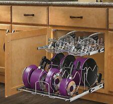 Pot & Pan Rack Storage Chrome Pull Out Cabinet Basket Kitchen Organization