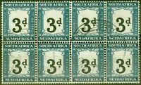 South Africa 1932 3d Black & Prussian Blue SGD27 V.F.U Block of 8
