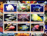 Ocean Animals -  Sheet of 9  - 5511