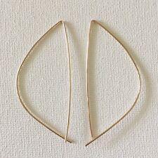 14K Gold Filled Simple Minimal Hoop Threader Pull Through Earrings