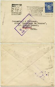AUSTRALIA 1939 WW2 CENSORED CHINA SAVORGNAN DE BRAZZA FRENCH CONSUL 3d BRISBANE
