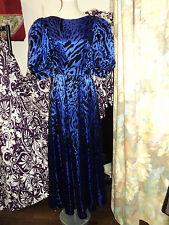 vintage Blue/black 1970's maxi dress size 10-12 from Germany v neck back++