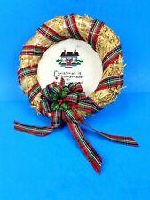 Christmas Wreath Straw Clear Twine Plaid Ribbon Handmade Stitched