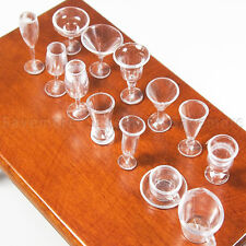 14X Cup Set Miniature Plastic Clear Kitchenware Dinner 1:12 Dollhouse Decor Toy