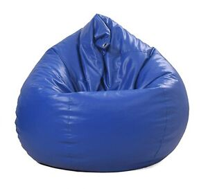 Best Blue Leather Bean Bag Chair Cover for Adults & Kids XXL Without Beans
