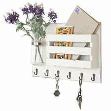 Wall-Mounted Vintage White Wooden Mail Holder Organizer, Key Hooks & Mason Jar