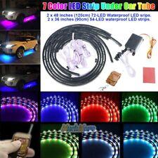 4PCS 7 Color Waterproof LED Strip Under Car Tube Underglow Underbody Neon Light