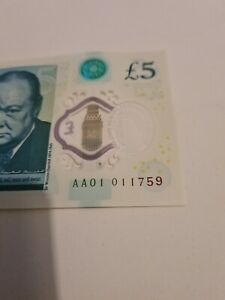 VERY RARE £5 FIVE POUND NOTE AA01 011759 LOW SERIAL NUMBER