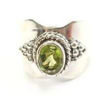 Natural Not Enhanced Peridot Sterling Silver Fine Rings