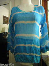 Language Anthropologie Blue Striped Womens Silk Blouse Top Front Pocket Size S