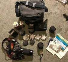 Canon T70 35mm camera zoom lenses everything pictured