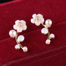 Womens Gold Silver Tone Faux Pearl Daisy Flower Stud Ear Cuff Earrings Jewelry