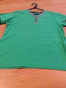 boys clothes 10-11 years George Green Cotton V-Neck Button Top T-Shirt