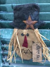 PRIMITIVE ~~ SMALL TEASTAIN SCARECROW HEAD HAPPY FALL RUSTY STAR HANG