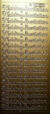 Sheet of 17 Gold Wedding Invitation Stickers Card Making 10mm Invites 473-1