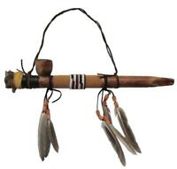 HAND CARVED BUFFALO HEAD WOOD PEACE PIPE WALL DECOR new BISON western home decor