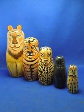 Vintage Painted Zoo Animal Big Cats Lion Tiger Jaguar Russian Nesting Doll Toy