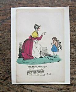c1850 Victorian Valentine Card Poem Handcoloured Print Engraving Cupid S Marks?