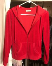 New Bobbie Brooks Solid Red Velour Hooded Jacket Ladies Size Small